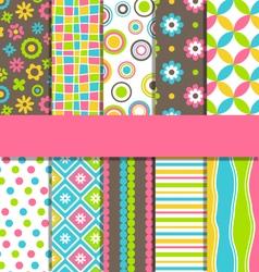 Set 10 seamless bright fun abstract patterns vector
