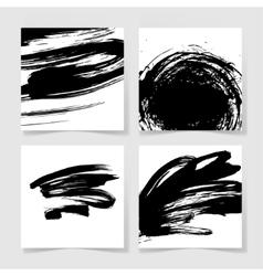 Set four black ink brushes grunge pattern hand vector