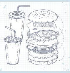 set icons fast food hamburger and drinks vector image