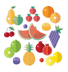 set icons with fruits and berries flat vector image
