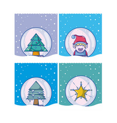 set of christmas cartoons vector image