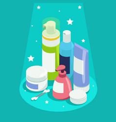 Set of face and body care products vector
