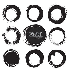set round grunge shapes vector image
