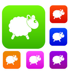 sheep set color collection vector image