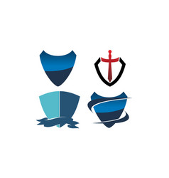 shield sword template set vector image