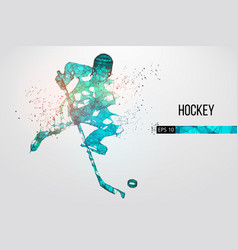 silhouette of a hockey player from particles vector image