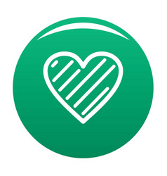 Simple heart icon green vector