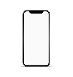 smartphone mockup with white screen and shadow vector image