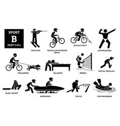 Sport games alphabet b icons pictograph biathlon vector