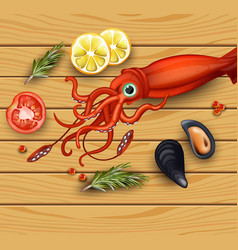 squid and mussels seafood on wood background vector image