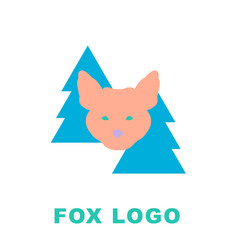 stylised logo mascot fox in woods vector image vector image