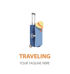 suitcase logo travel icon symbol bag design vector image