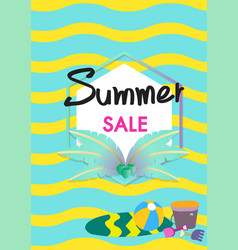 Summer sale banner template with summer acc vector