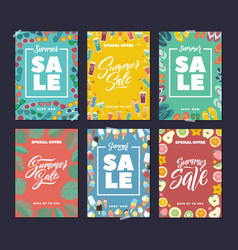 summer sale colorful fashion banners set with vector image