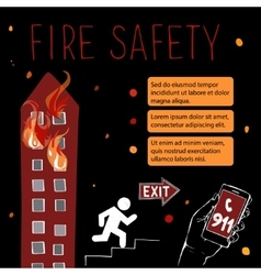 Template for fire safety instructions vector