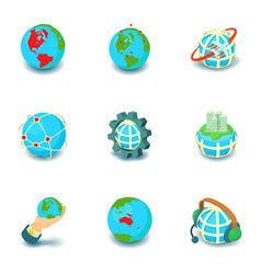 Terrestrial globe icons set cartoon style vector