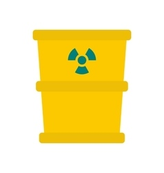 Trash barrel with radioation sign icon flat style vector