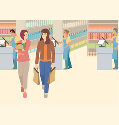 two women having chit chat in supermarket vector image