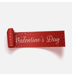 Valentines Day red scroll greeting Ribbon vector