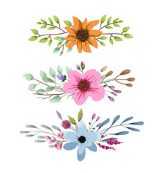 Watercolor floral bouquet with leaves and flowers vector