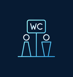 wc toilet colored linear icon on dark vector image