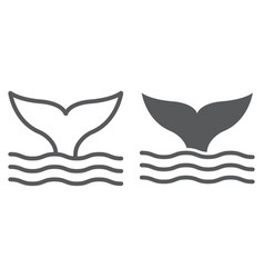 whale tail line and glyph icon animal vector image