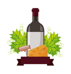 wine bottle cheese corkscrew and leaves vector image