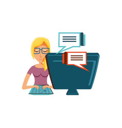 Woman with desktop computer and speech bubble vector