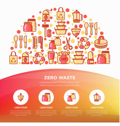 zero waste concept in half circle with thin line vector image