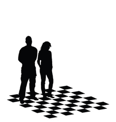 man and girl on chess table vector image vector image