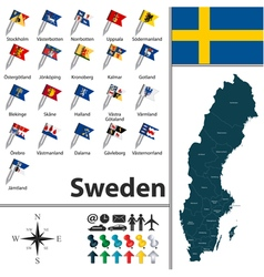 Sweden map with flags vector image vector image