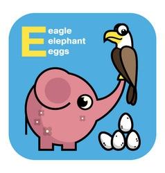 Abc eagle elephant eggs vector