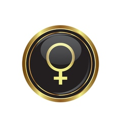 Gold button with female symbol vector image
