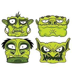 halloween green scary zombie head vector image