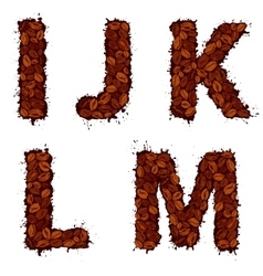 IJKLM english alphabet letters made of coffee vector image vector image