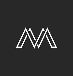 M monogram letter logo crossing thin line black vector