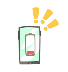 smart phone with low battery symbol on the screen vector image