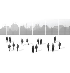 a group of people and a big city building vector image