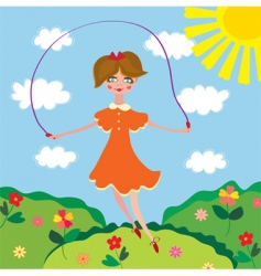 cute girl jumping vector image