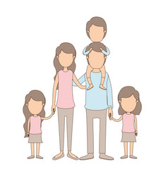 light color caricature faceless big family parents vector image vector image