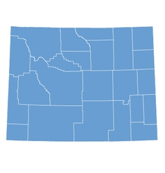 State Map of Wyoming by counties vector image