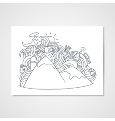 Abstract doodle pattern with objects for ski vector image vector image