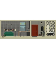 Apartment interior with bar in flat style vector image