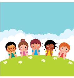 Group of happy children boys and girls vector image vector image