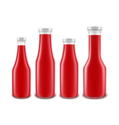 set of glass red tomato ketchup bottle vector image vector image