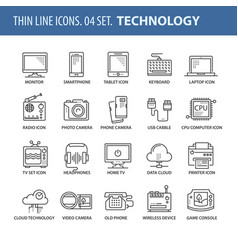 set of thin line flat icons technology vector image