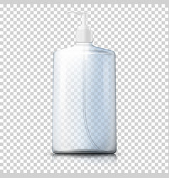 3d realistic transparent plastic bottle vector