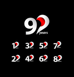 90 years anniversary celebration white and red vector