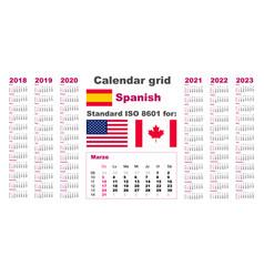 American calendar standard us spanish hispanic vector