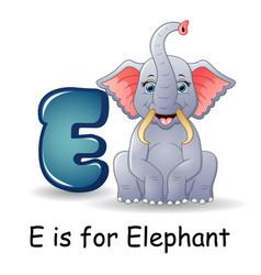 Animals alphabet e is for elephants vector